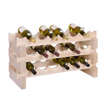 Wooden wine rack CASANOVA, 3 rows, 6 bottles each