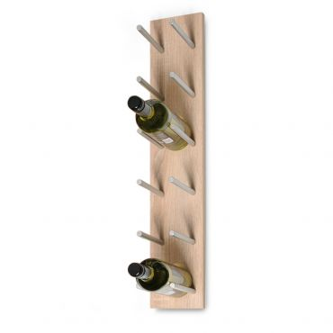 Wall wine rack system ESTABA, holds 6 bottles, light oak