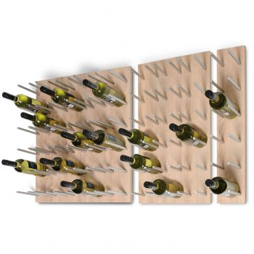 Wall wine rack system ESTABA, wood & metal, light oak