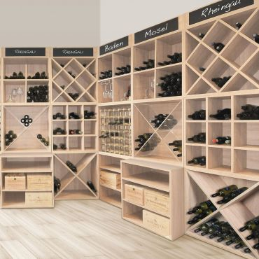 Wooden wine rack system CAVEPRO, light oak