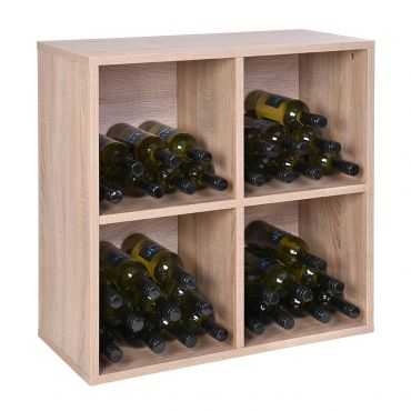 Rack module , 4 compartments, light oak