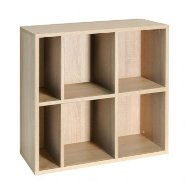 Rack modules, 6 compartments, light oak