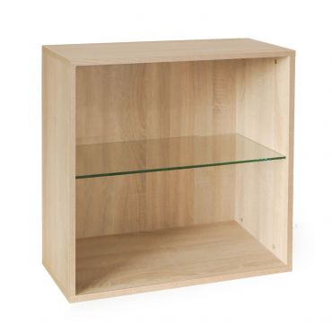 Rack module with glass shelf, light oak