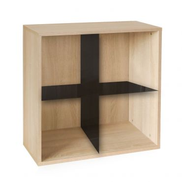 Rack module with X cross, light oak