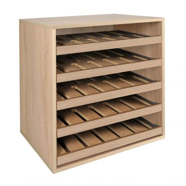 Rack module light oak, with single bottle sliding shelves