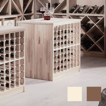 Wine rack island PRESTIGE, free-standing, made of solid oak