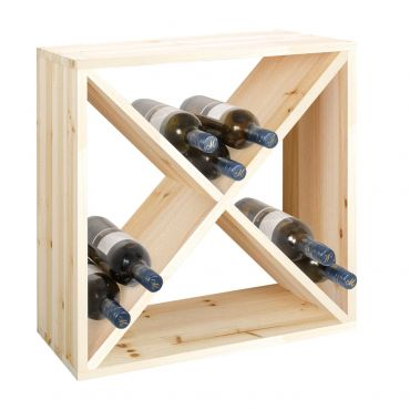 Wine rack 50 cm, module X-CUBE ,natural