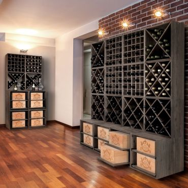 Wine rack system 52cm, dark brown stained