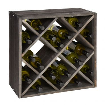 Wine rack  52 cm, diamond shaped inserts, brown