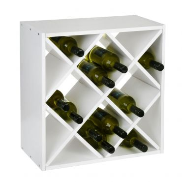 Wine rack 52 cm, diamond, shaped inserts, white painted