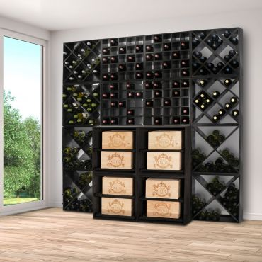Wine rack system 52, black stained