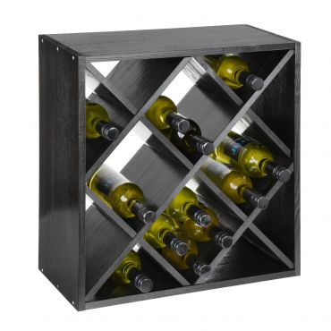 Wine rack 52 cm, diamond shaped, black stained