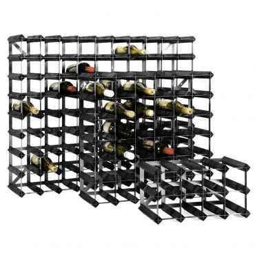 Wooden wine rack system TREND, black stain, D 22,8 cm