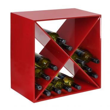 Metal wine rack System CUBE, red