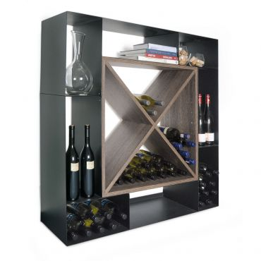 Wine rack NERO, wood & steel material mix
