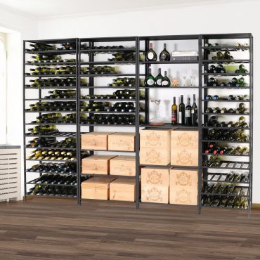 Wine rack system BLACK PURE, made of black metal