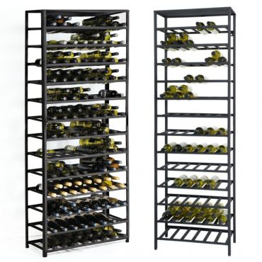 Metal wine rack BLACK PURE, H 200 x 62 cm