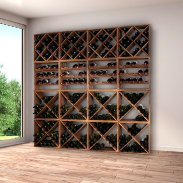 Wooden wine rack system, CUBE 50, tobacco