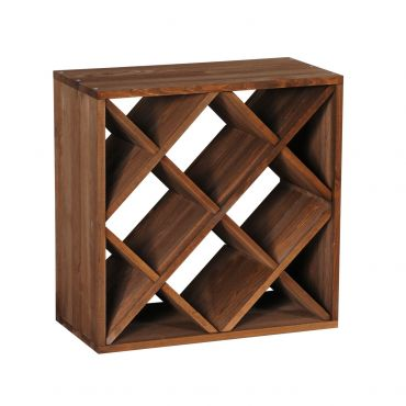 Wooden wine rack system CUBE 50 tobacco, diamond