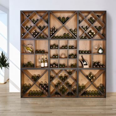 Wine rack system CAVEPRO, country oak with anthracite edge