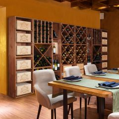 Wine rack system VINCASA, 60 cm, brown stained