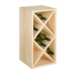 Wine rack with diamond shaped inserts, narrow, nat.