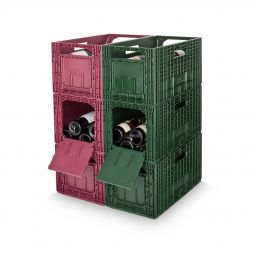 Wine rack WINEBOX, red/green, 6 piece set