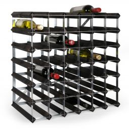 Modular wine rack system TREND 42 bottles, solid wood, black