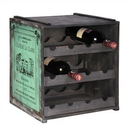 Wooden wine rack  ANTIK, green
