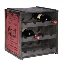 Wooden wine rack ANTIK, red